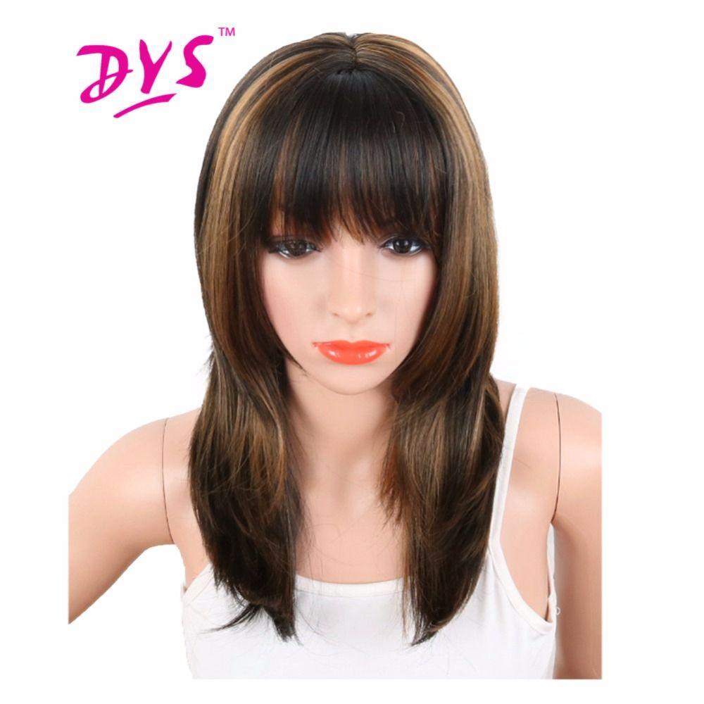 Deyngs 20 ''perruques synthétiques pour femmes mélange noir couleur marron résistant à la chaleur naturellement cheveux afro-américains avec frange livraison gratuite