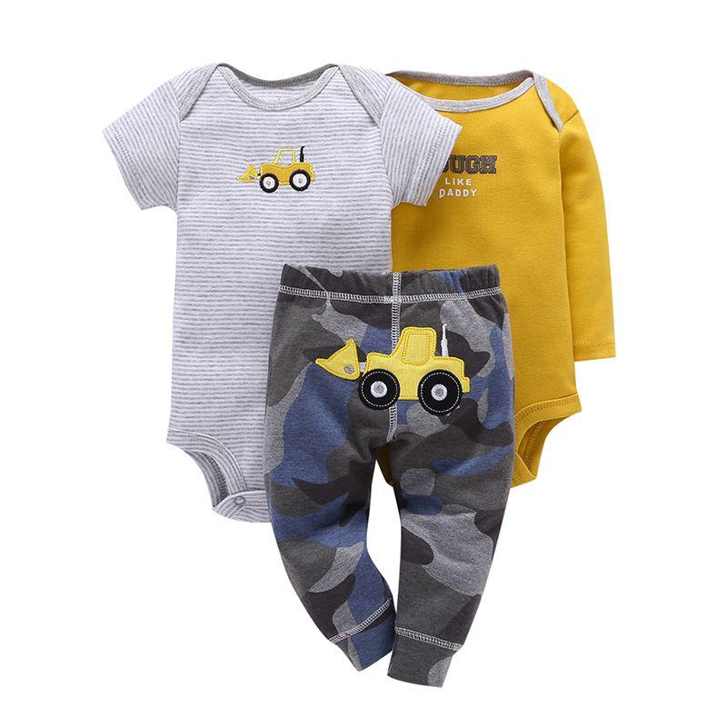 2019 bébé nouveau-né bébé vêtements ensemble coton à manches longues barboteuses lettre + pantalon camouflage garçon fille printemps été 3 pièces tenues