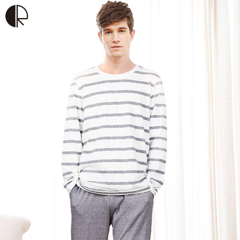 CR Cotton Long Sleeve O-neck Pajama For Men Spring Autumn Men Pajamas Set Women Sleepshirts Couple Striped Sleepwear Homewear