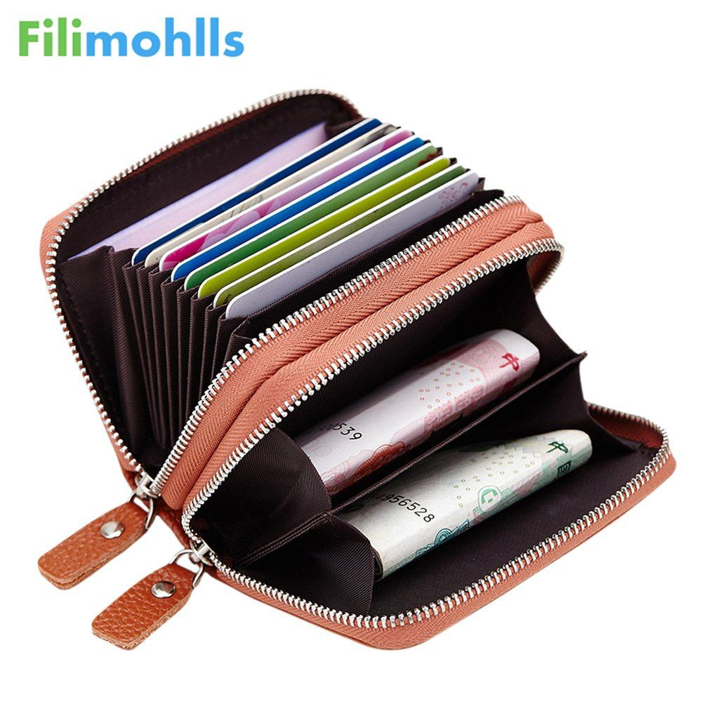 Made of Genuine Leather Card Holder Wallet High Capacity Credit Card Holder for Women Coin Purses Pillow Men Card Purse S968