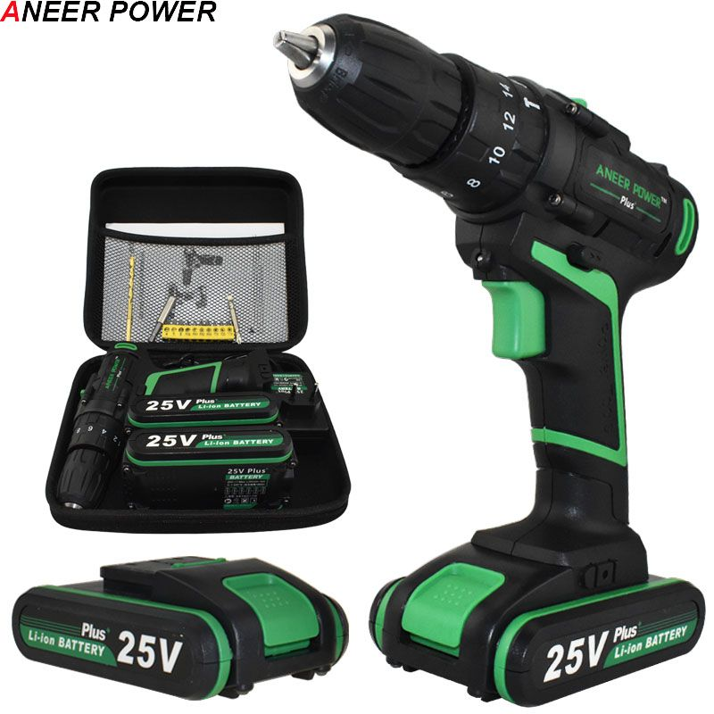 New Style 25V Impact Drill Electric Hand drill Battery Cordless Hammer Drill Electric Screwdriver Home Diy Power Tools+Woven Bag