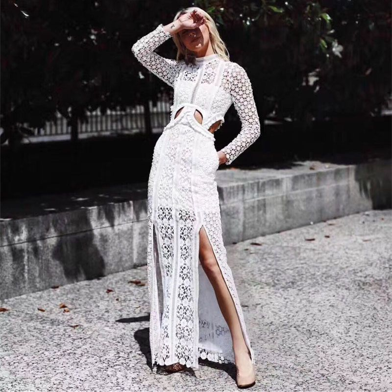 High-end Self Portrait Dress 2018 Spring Women Sexy Elegant Long Sleeve Hollow Out Lace Long Party Dresses vestidos
