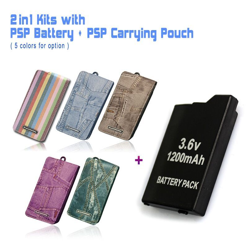 Game accessories for One PSP Battery + One PSP Travel Carrying Pouch, Case Bag For All SONY PSP-2000,3000