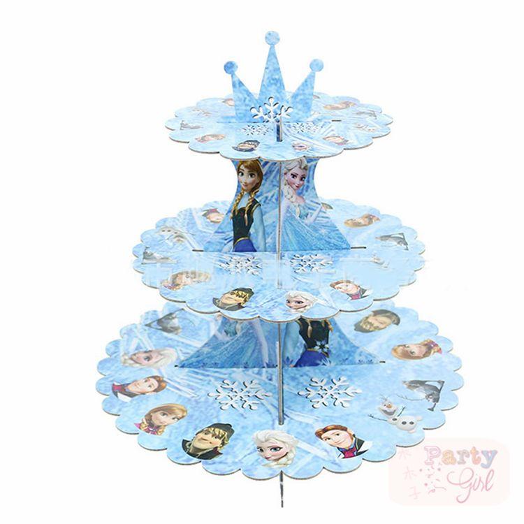 Princesse 3 niveaux Cupcake Stand pour Dessert Table fête décoration anniversaire bébé douche-Elsa bleu gâteau Stand