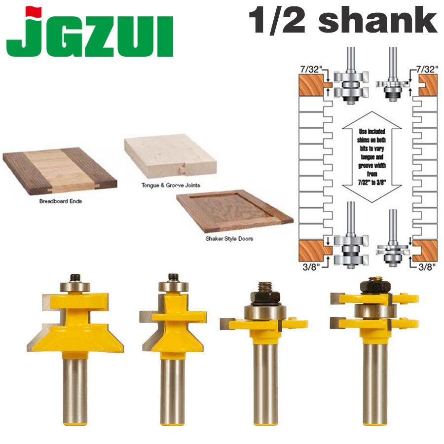 4 Bit Zunge & Nut und V-kerbe Router Bit Set-1/2 Schaft Linie messer Holz cutter zapfen Cutter für Holzbearbeitung Werkzeuge