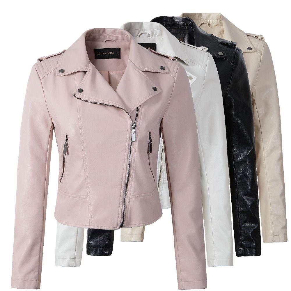 Бренд мотоциклетная куртка из искусственной кожи Для женщин зима и осень новое модное пальто 4 цвета Верхняя одежда на молнии куртка Новый ...