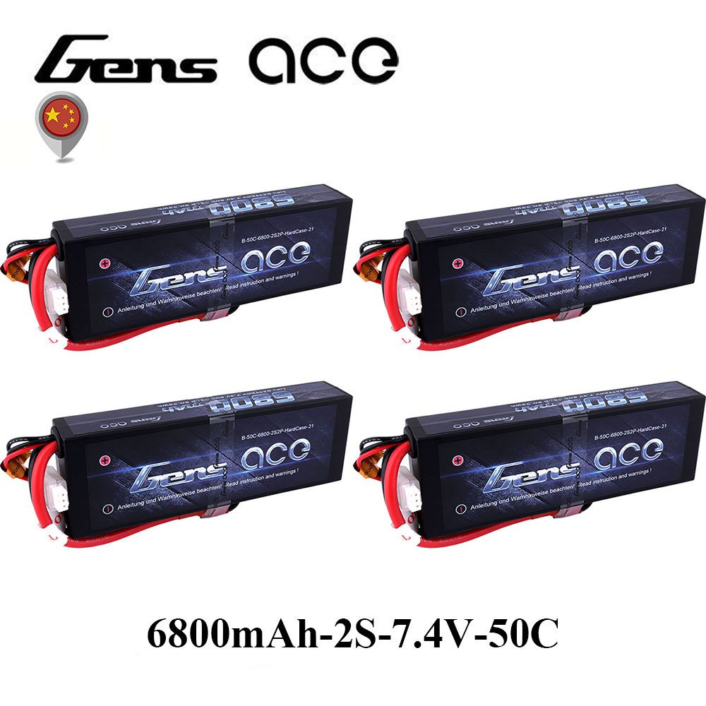 4Pcs Gens ace Lipo 2S Battery 6800mAh 7.4V Batteria Pack 50C-100C Deans Connector for RC Car 1/8 1/10 Hardcase High Discharge