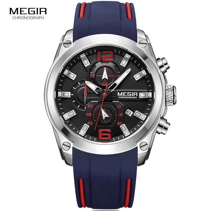 Megir Men Watch Chronograph Quartz Watches with Luminous Sport Waterproof Silicone Rubber Strap Wristswatch relogio masculino
