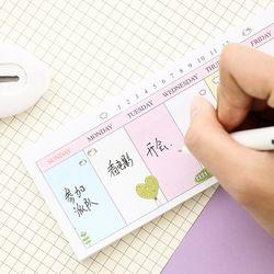 Z32 Kawaii Sederhana Mingguan Lengket Catatan Rencana Pesan Menulis Memo Bantalan Sekolah Kantor Pasokan Siswa Alat Tulis DIY Dekorasi Stiker