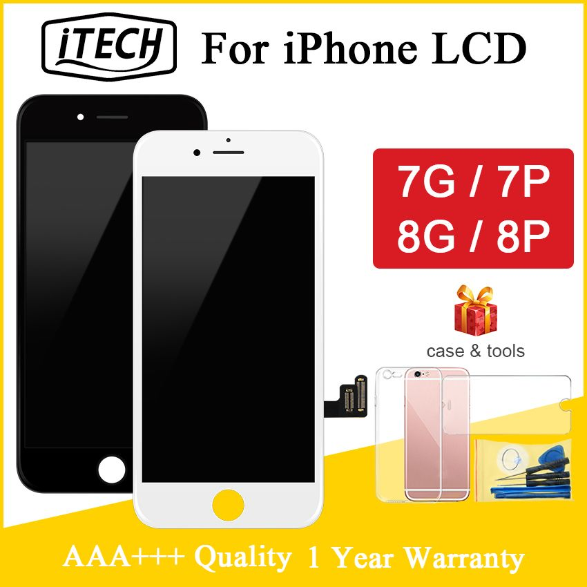 For iPhone 7 7 Plus 8 8 Plus LCD With 3D Touch Screen Digitizer Assembly Pantalla Replacement Display 100% AAAA + Free Gift