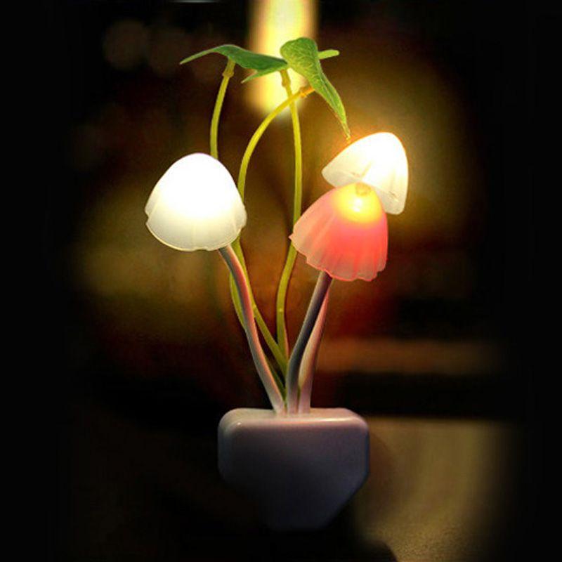 Novelty Mushroom Fungus Night Light EU & US Plug Light Sensor AC110V-220V 3 LED Colorful Mushroom Lamp Led Night Lights for baby
