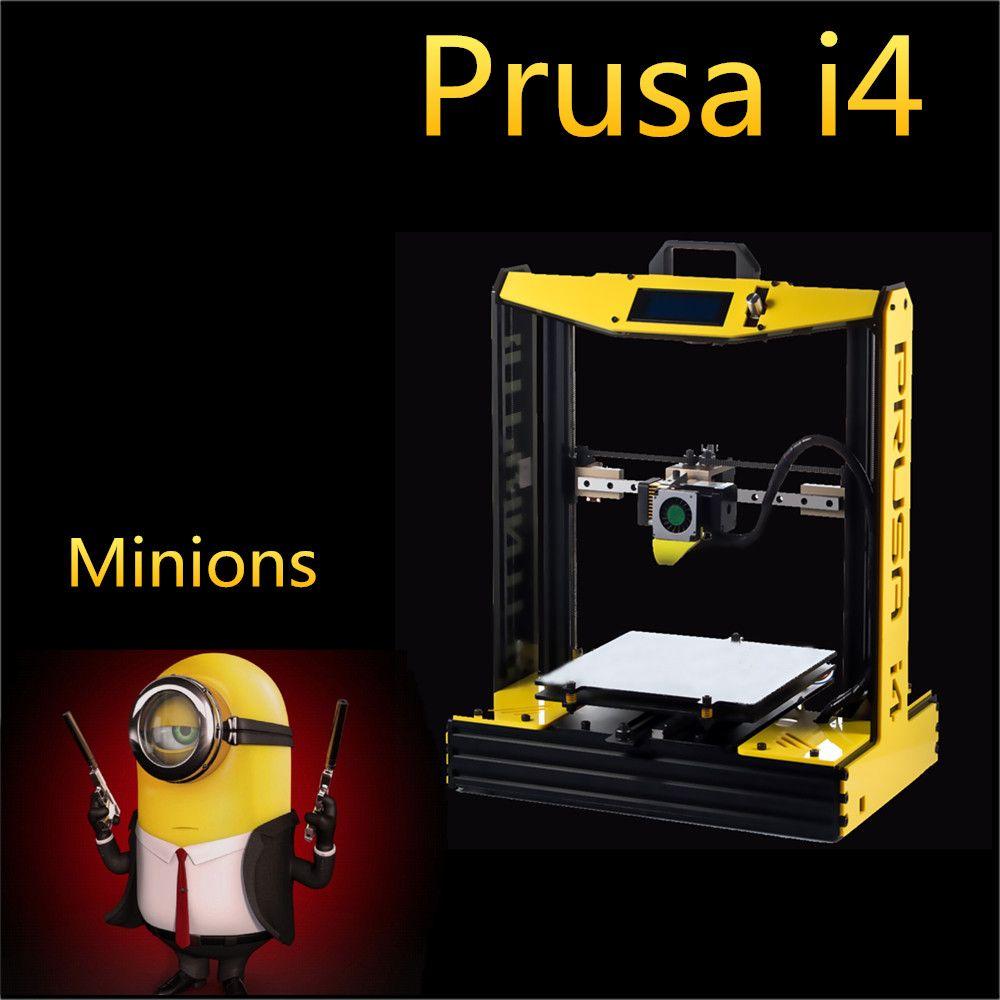 Aluminium High Precision impresora i4 3d Printer DIY Kit Machine Black Model quadro+Hot Bed+Filament+ SD card
