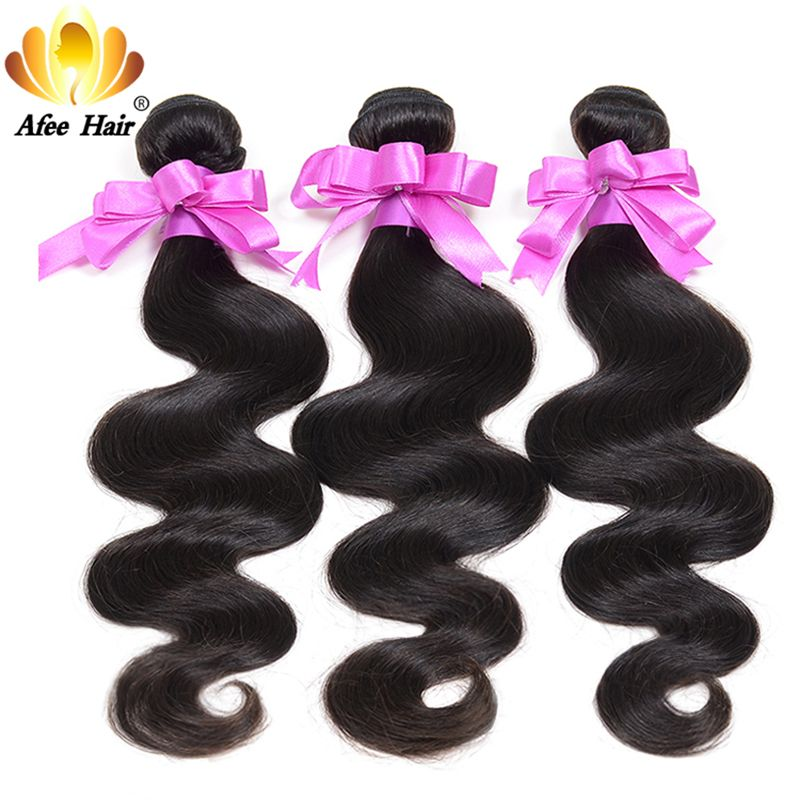 AliAfee Body Wave Bundles 1PC Non-Remy Brazilian Hair Weave Bundles Deal 8-28 Inch Human Hair Bundles 1B Color Hair Extensions
