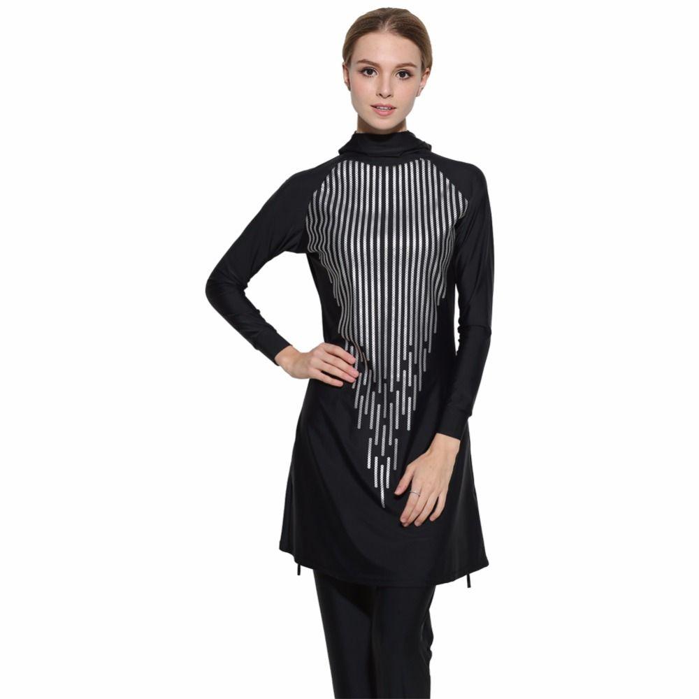 2017 Modest Full Cover Muslim Swimwear Plus Size Female Swimsuit Beach Bathing Suit Burkinis for Muslim Girls Sequins printing