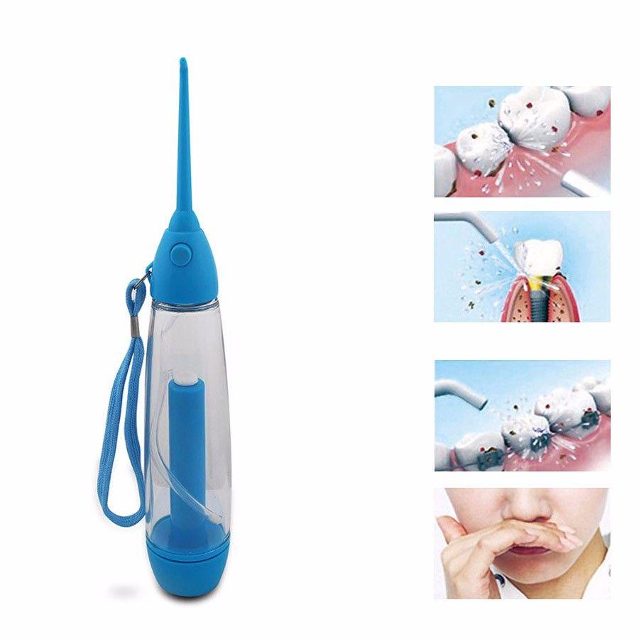 2017 Nuevo Portátil Limpiador de Dientes Oral Irrigador Dental Water Jet Flosser Riego Azul De Plástico Transparente 25.3*4.2 cm, 1 UNID