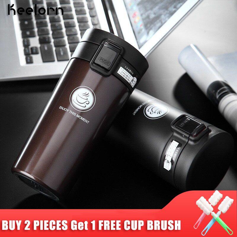 Keelorn offre spéciale Double paroi en acier inoxydable café Thermos tasse tasses bouteille thermique 500 ml thermotasse mode flacons à vide tasses