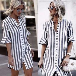 2018 nueva moda mujeres negro y blanco rayas vestido casual flare media manga suelta Vestidos Mujer botón camisa vestido vestidos