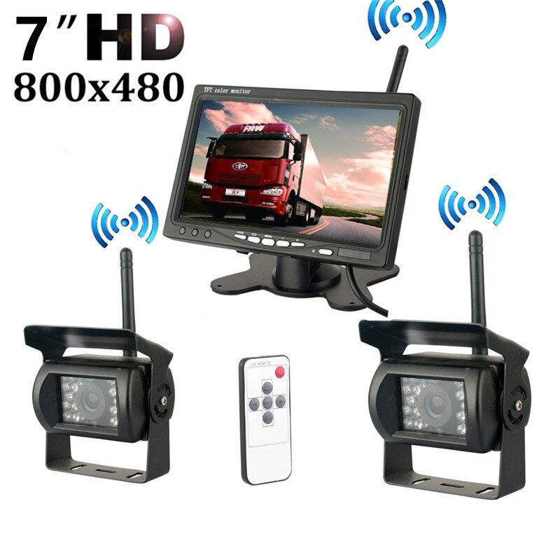 Wireless Dual Backup Cameras Parking Assistance Night Vision Waterproof Rearview Camera With 7