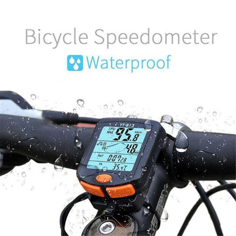 BOGEER Bicycle <font><b>Computer</b></font> Wireless Bike <font><b>Computer</b></font> Speedometer Digital Odometer Stopwatch Thermometer LCD Backlight Rainproof Black