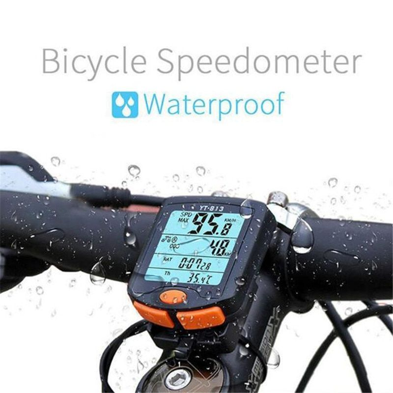 BOGEER <font><b>Bicycle</b></font> Computer Wireless Bike Computer Speedometer Digital Odometer Stopwatch Thermometer LCD Backlight Rainproof Black