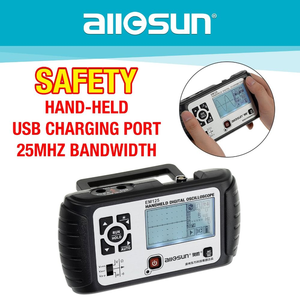 all-sun 2 in1 Multimeter Oscilloscope 25MHz Digital Handheld Scopemeter Voltmeter Ohmmeter Capacitance EM125