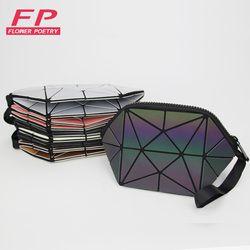 2018 Fashion Geometric Cosmetic Bag For Women Luminous Makeup Bag Ladies Zipper Cosmetics Organizer Folding Travel Make Up Bag