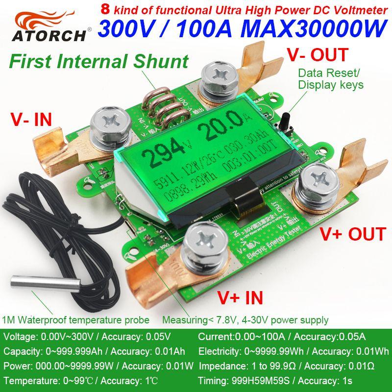 ATORCH Accurate Energy Meter Voltage Current Power DC 300V/100A Voltmeter Ammeter Greem <font><b>Backlight</b></font> Overload Alarm Function indoor