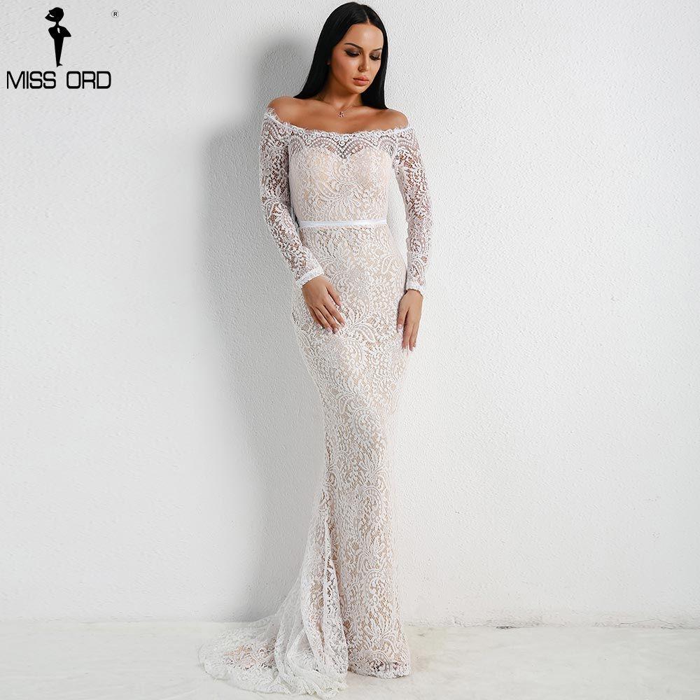 Missord 2018 Women Sexy Off Shoulder Lace Dresses Female Backless Maxi Elegant Party Dress Vestdios FT18306