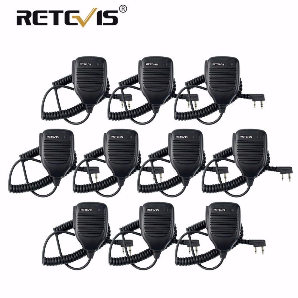 10pcs Walkie Talkie Speaker Microphone PTT Mic For Kenwood Retevis RT7 RT22 H-777 Baofeng UV-82 UV5R for Puxing for HYT For TYT