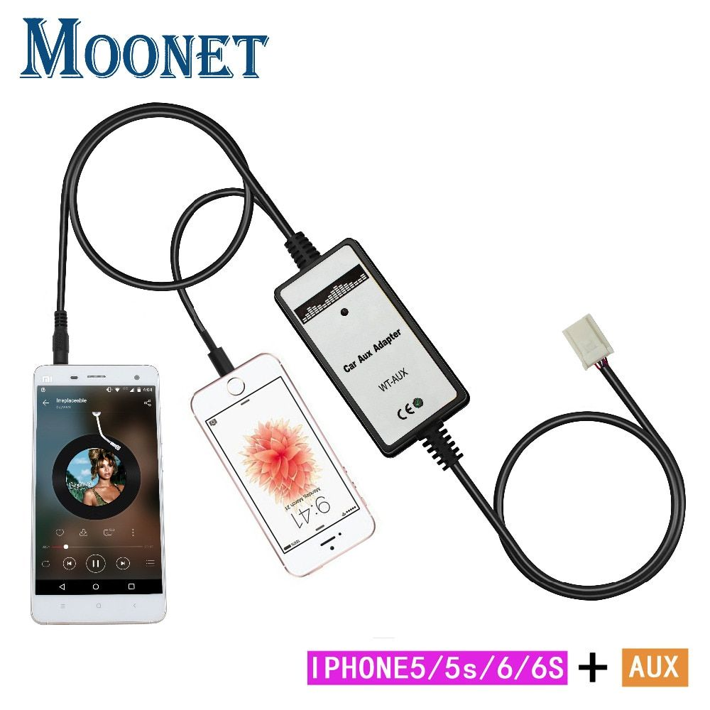 Moonet Car CD adapter mp3 3.5mm for iphone Aux cable(6+6 pin) For Toyota Avenis Corolla Venza Vitz Yaris RAV4 QX192