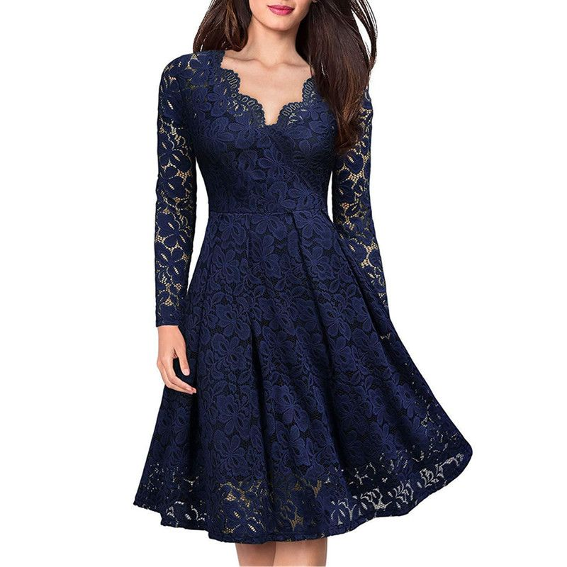 Women Elegant vintage Sexy V Neck Floral Lace evening long sleeve Slim Tunic Work office Casual Party Swing Skater A-Line Dress