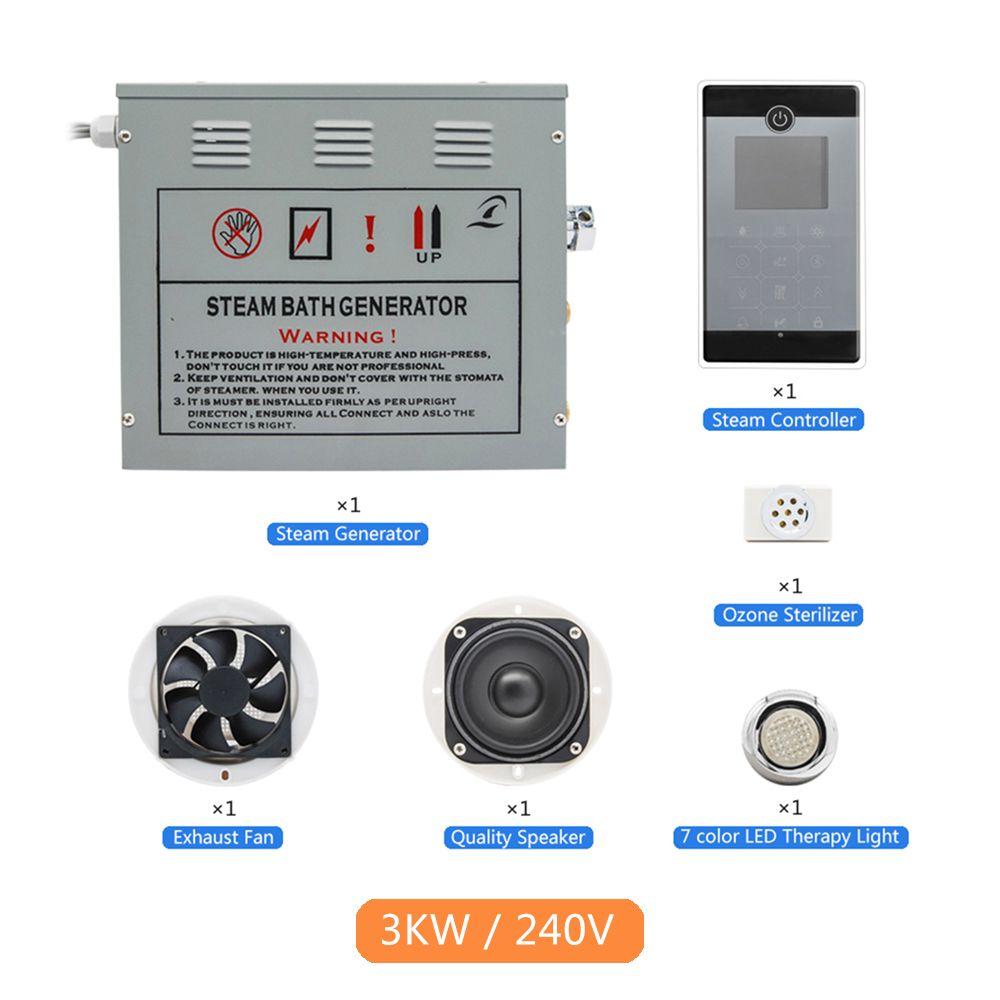 New 1set Bluetooth FM Radio Touch Screen Control Panel 3KW 220-240V Bathroom Spa Steam Shower Sauna Accessories Bath Generator