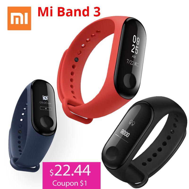 Xiao mi bande 3 mi bande 3 Bracelet intelligent avec 0.78 OLED écran tactile étanche fréquence cardiaque Tracker Fitness Bracelet intelligent