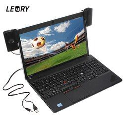 LEORY High Quality 1 Pair Mini Portable Clipon USB Stereo Speakers line Controller Soundbar for Laptop PC Computer with Clip