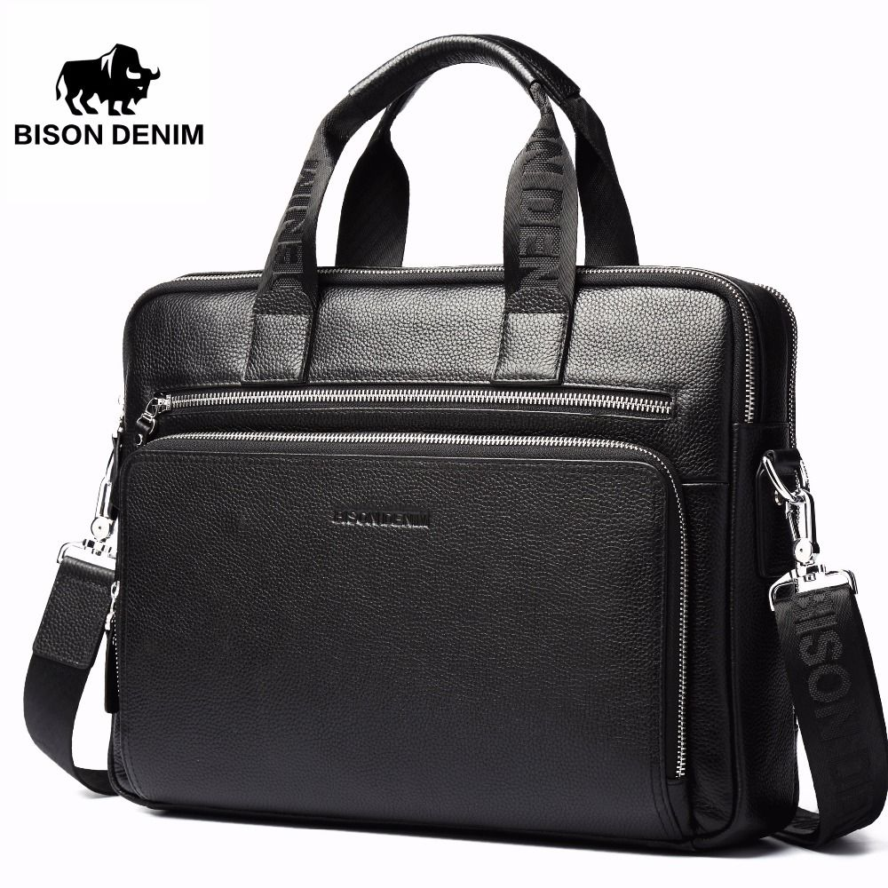 BISON DENIM Genuine leather Briefcases 14 Laptop Handbag <font><b>Men's</b></font> Business Crossbody Bag Messenger/Shoulder Bags for <font><b>Men</b></font> N2333