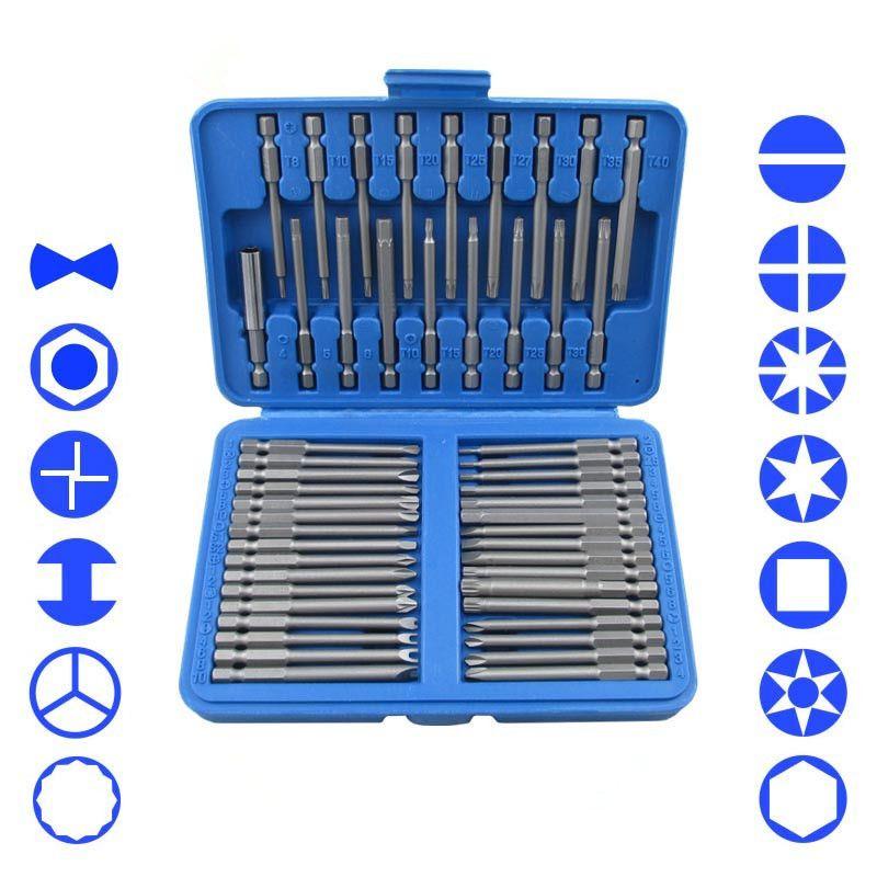 51 Pièce Extra Long Bit Set Torx Hex Étoiles Pozi Phillips Fendue Tournevis D'outils À Main Set Cr-V