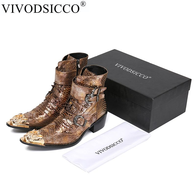 VIVODSICCO Luxury British Style Men Mid Calf Boots Genuine Leather Motorcycle Cowboy Boots Men Snake Skin Boots Dress Shoes
