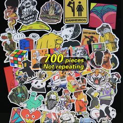 700 Buah Tidak Mengulangi Lebih Banyak Logo Tahan Air Stiker untuk Dekorasi Dinding Skateboard Motor Sepeda Kulkas Laptop Stiker Mobil