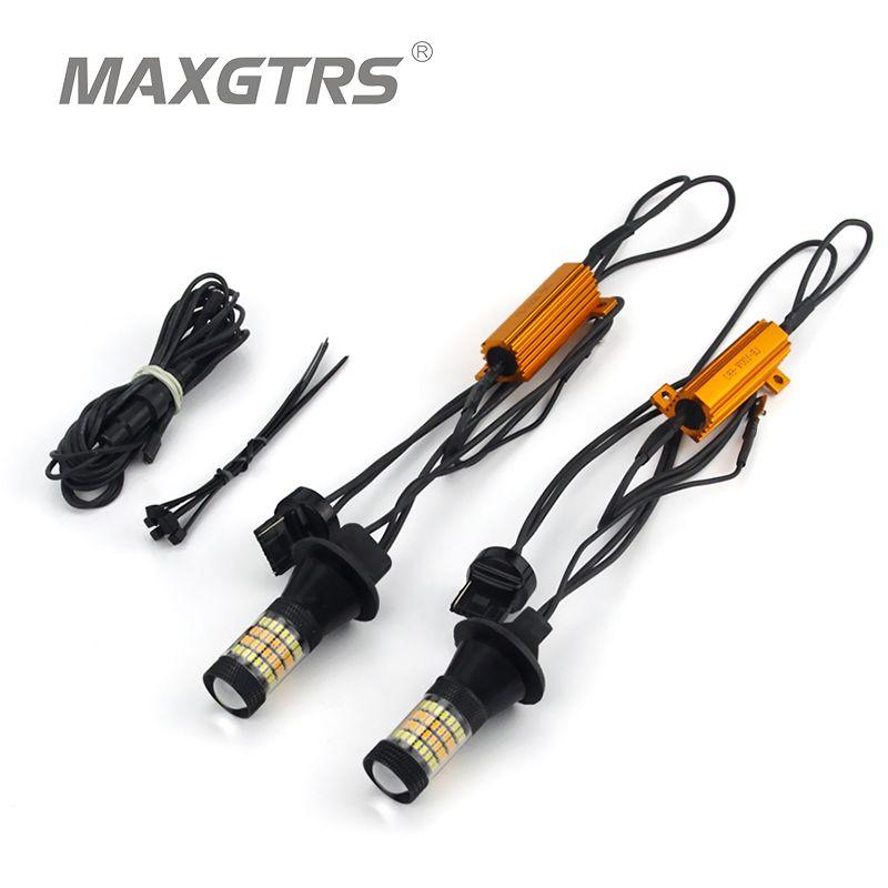 2X T20 7440 W21W LED double couleur blanc/ambre jaune Switchback clignotant + Canbus sans erreur décodeur résistance de charge W21W
