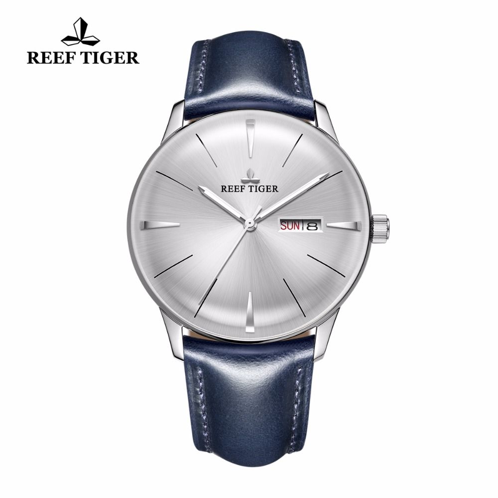 2018 New Reef Tiger/RT Dress Watches for Men Blue Leather Band Convex Lens White Dial Automatic Watches RGA8238