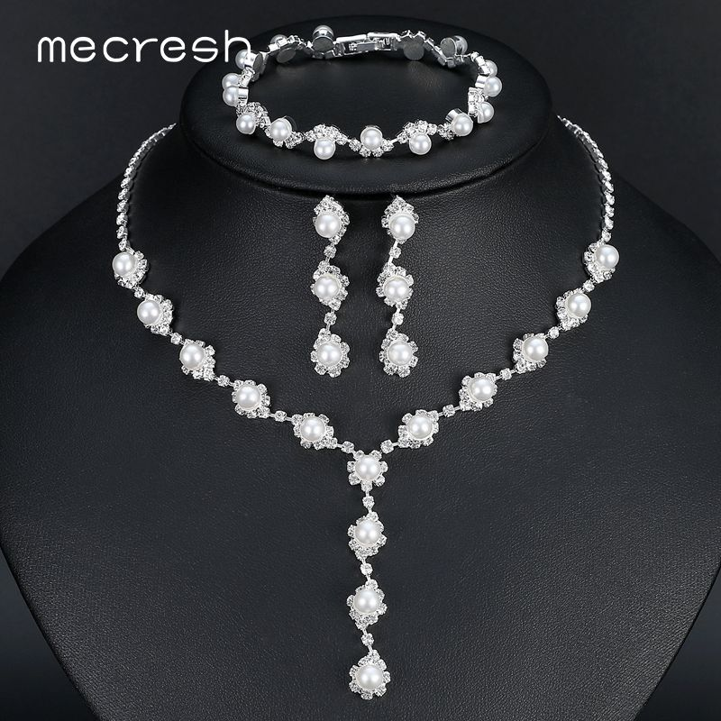 Mecresh Simulated Pearl Bride Wedding Jewelry Sets Simple Crystal Necklace Earrings Bracelets Sets Women Party Gift TL059+SL077