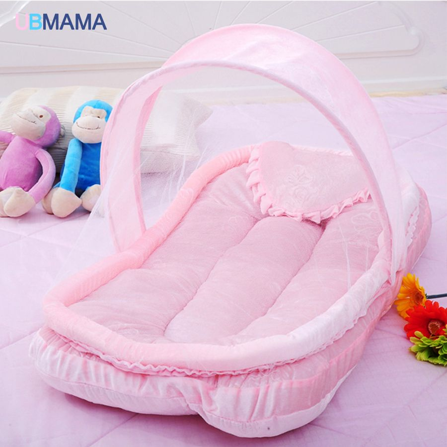 Red blue with netting Foldable Portable baby crib Super soft dust-proof kids bed Boy and girl cribs  for 0-12M