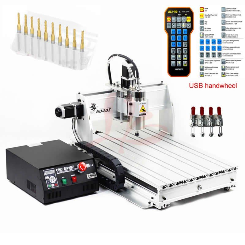 USB Port CNC Router 6040 2.2KW kühlung spindel holz gravur aluminium fräsmaschine mach3 handrad