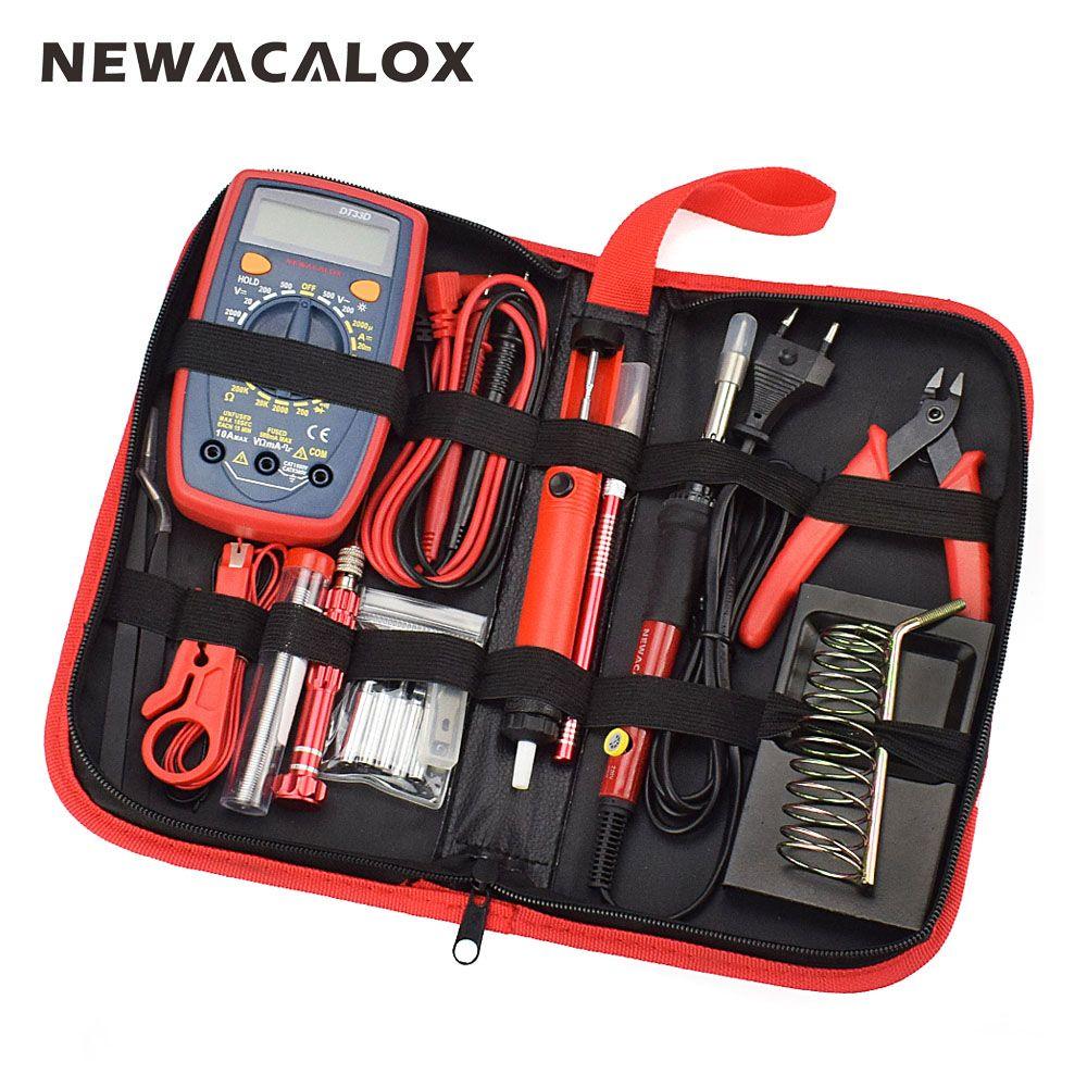 NEWACALOX 60W EU/US <font><b>Multifunctional</b></font> Electric Soldering Iron Kit Adjustable Temperature Repair Welding Tool Digital Multimeter