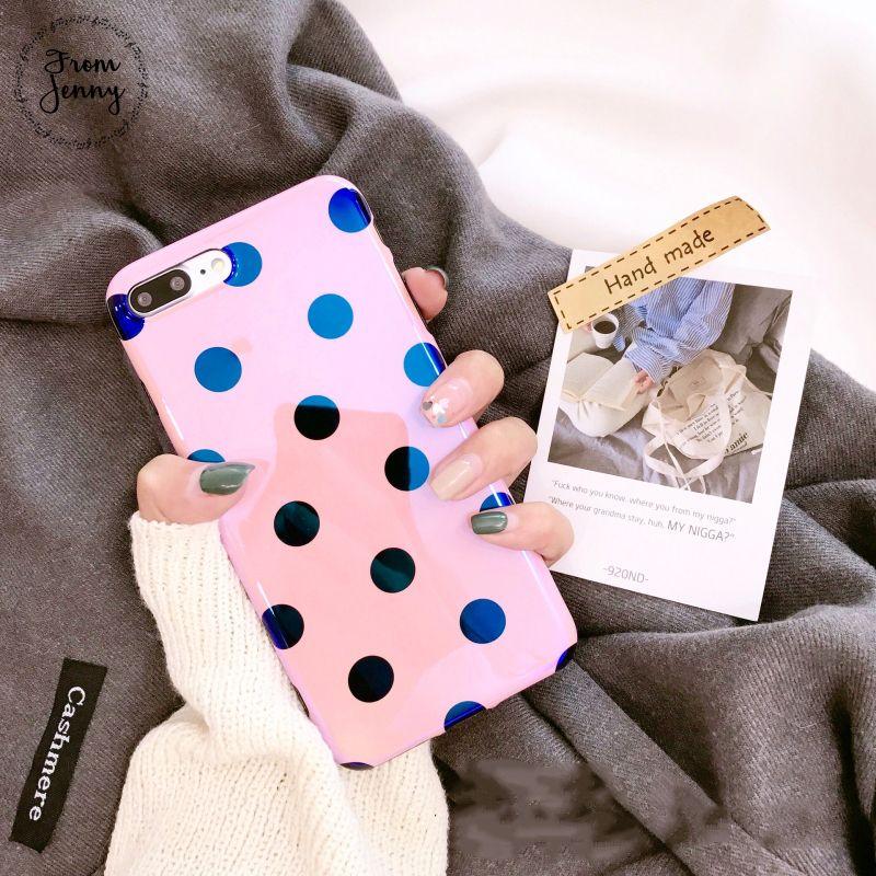 De Jenny láser Rosa lunares caja del teléfono para iPhone6 6 S 7 8 más 8 más x 4.7 pulgadas 5.5 + Soft TPU contraportada girly estilo lindo