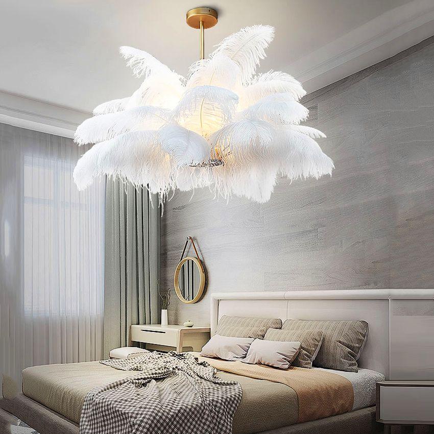 Nordic LD Anhänger Lichter Natürliche Straußen Feder LOFT LED Anhänger Lampe Schlafzimmer Wohnzimmer Restaurant Beleuchtung Deco Hängen Lampe