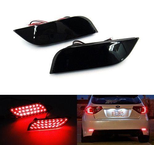Black Smoked Bumper Reflector LED Tail Brake Light For Subaru Impreza WRX STI XV Crosstrek Legacy Exiga Levorg