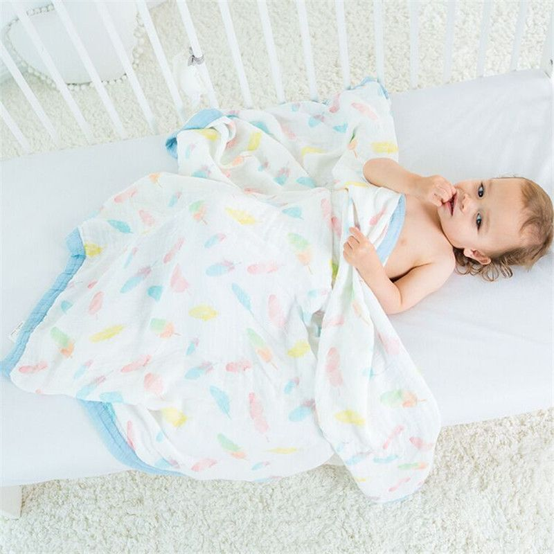 Muslin Tree Two Layers 70% Bamboo 30% Cotton Gauze Newborn Supplies Broad Edge Baby Swaddle Child Dream Blanket 120X120cm