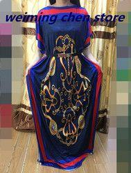 Baru Fashion 100% Kapas Cetak Elastis Lengan Longgar Gaya Dashiki Garis Panjang Gaun untuk Wanita/Wanita 6 Warna Akan kapal On16thMay