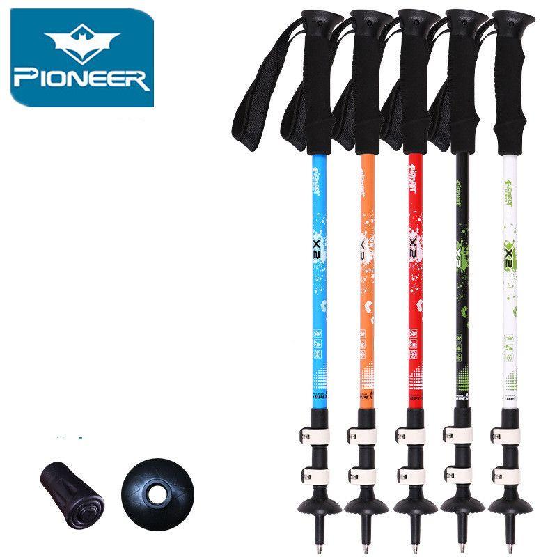 Ultra-léger Trekking Ski pôle Bâton de Marche Réglable Télescopique Randonnée Alpenstock Fiber De Carbone Escalade Ski Canne